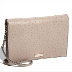 Kate Spade taupe Kaley ostrich envelope clutch
